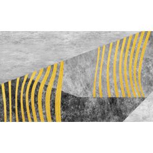 Ковер серый с желтыми полосами №455