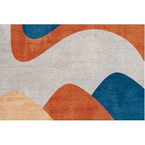 Ковер современный сине-оранжевый №476