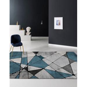 Ковер геометрический сине-серый №517
